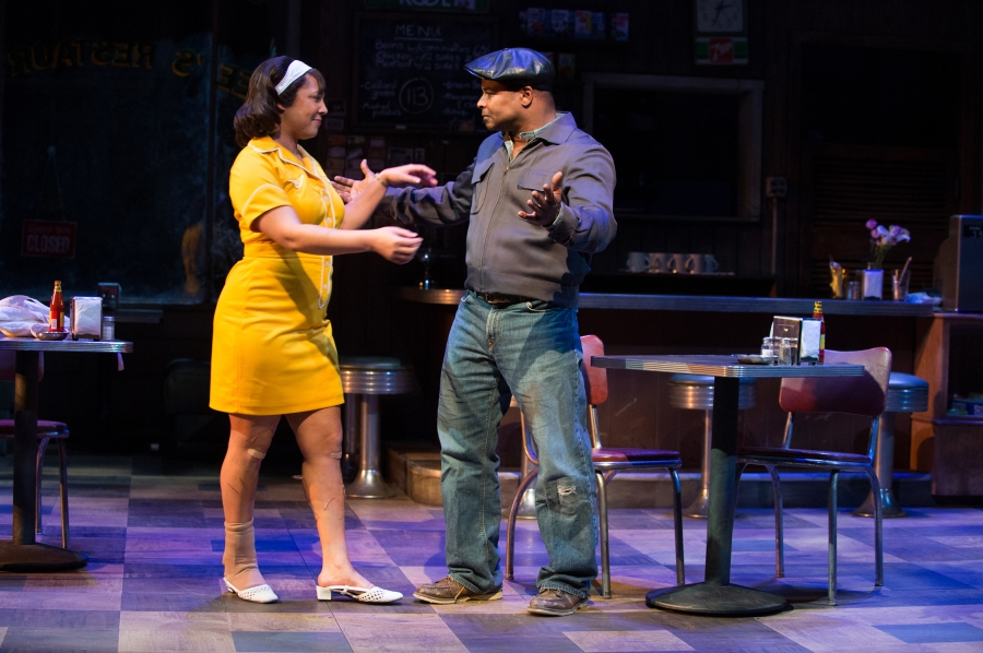 When the jukebox finally gets fixed, Sterling (Kevin Kenerly) asks Risa (Bakesta King) to dance. Photo by Jenny Graham.