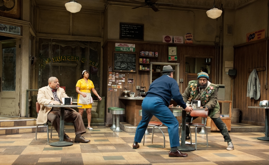 Hambone (Tyrone Wilson) tries to get away from Memphis (Terry Bellamy) as Holloway (Josiah Phillips) and Risa (Bakesta King) watch. Photo by Jenny Graham.