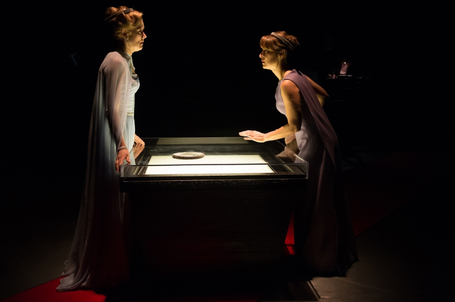 Lear's daughters, Regan (Robin Goodrin Nordli, left) and Goneril (Vilma Silva) plot against their father. Photo: Jenny Graham.