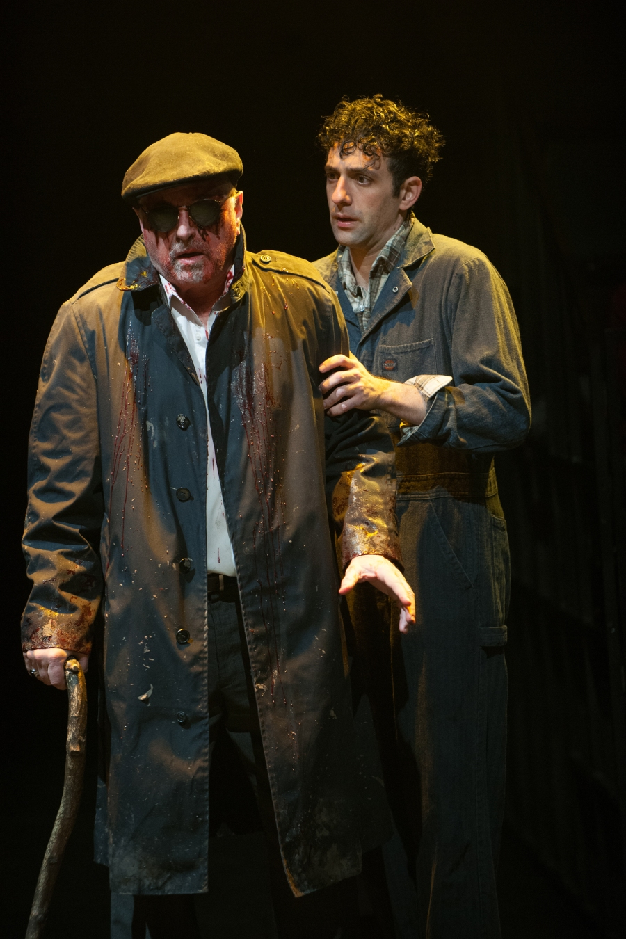 Edgar (Benjamin Pelteson), in disguise, cares for his blinded father Gloucester (Richard Elmore). Photo: Jenny Graham.