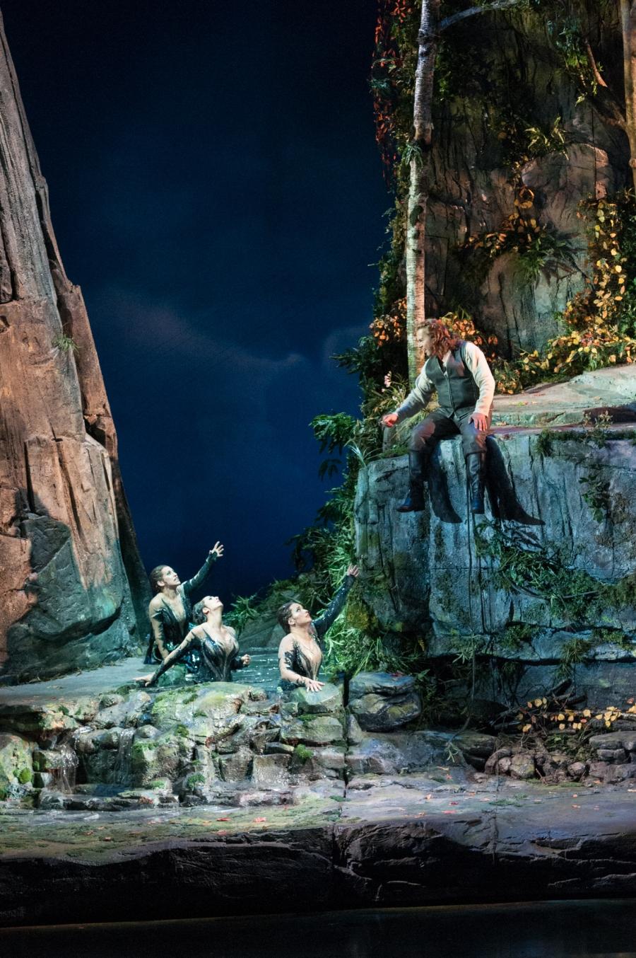 Wagner's Götterdämmerung; Jennifer Zetlan (Woglinde), Cecelia Hall (Wellgunde), Renée Tatum (Flosshilde), and Stefan Vinke (Siegfried). © Elise Bakketun photo