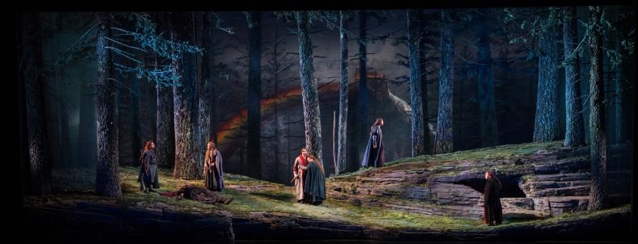 Wagner's Das Rheingold, Jennifer Zetlan (Woglinde), Cecelia Hall (Wellgunde), and Renée Tatum (Flosshilde), Richard Paul Fink (Alberich). © Elise Bakketun photo