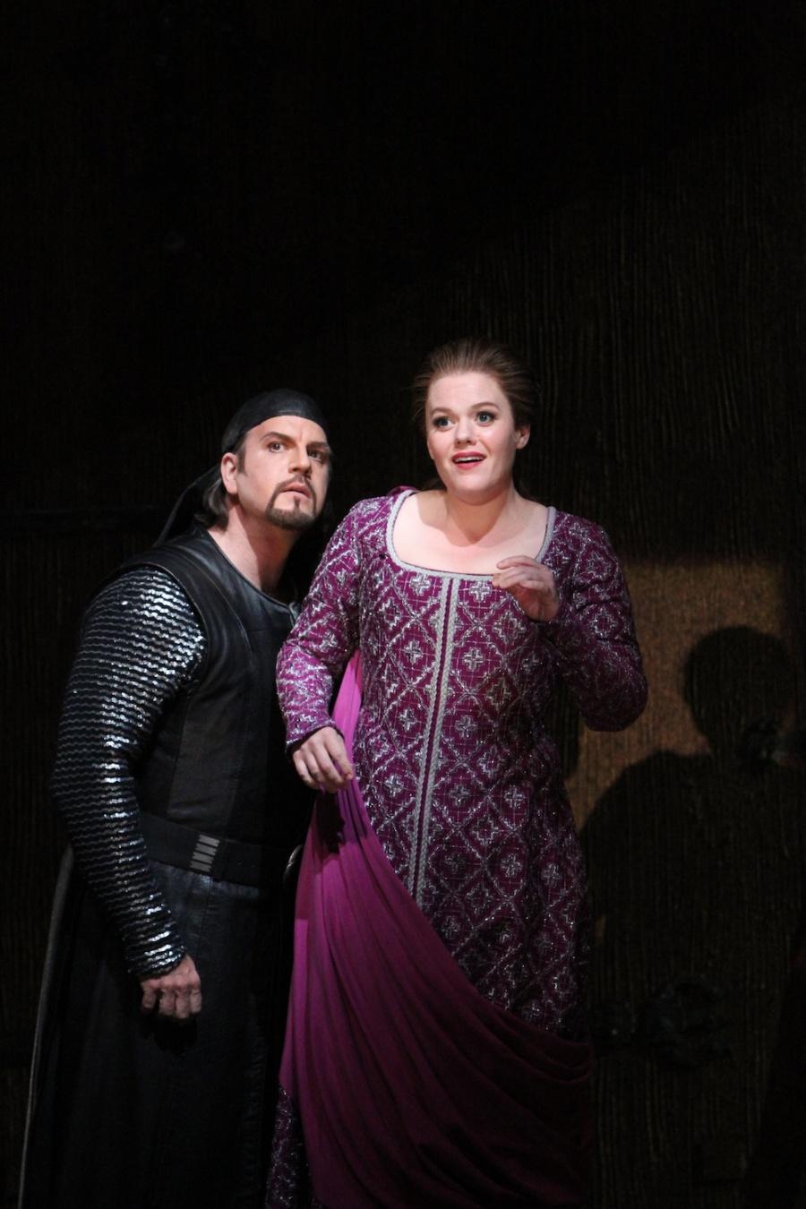 Wagner's Götterdämmerung; Daniel Sumegi (Hagen) and Wendy Bryn Harmer (Gutrune). © Alan Alabastro photo