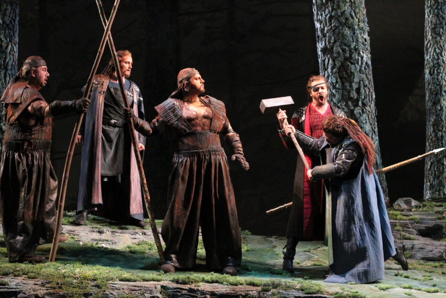 Wagner's Das Rheingold, Andrea Silvestrelli (Fasolt), Ric Furman (Froh), Daniel Sumegi (Fafner), Greer Grimsley (Wotan), and Markus Brück (Donner).  © Alan Alabastro photo