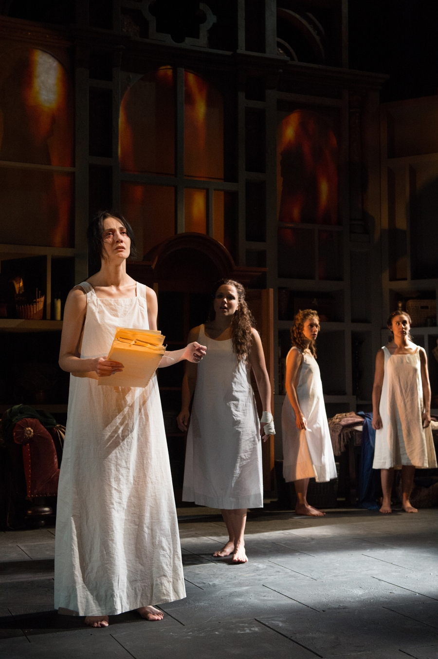 Sor Isabel (Sofia Jean Gomez) tells the girls (Vivia Font, Alejandra Escalante, Sabina Zuniga Varela) what they must do to save the legacy of Sor Juana. Photo by Jenny Graham.