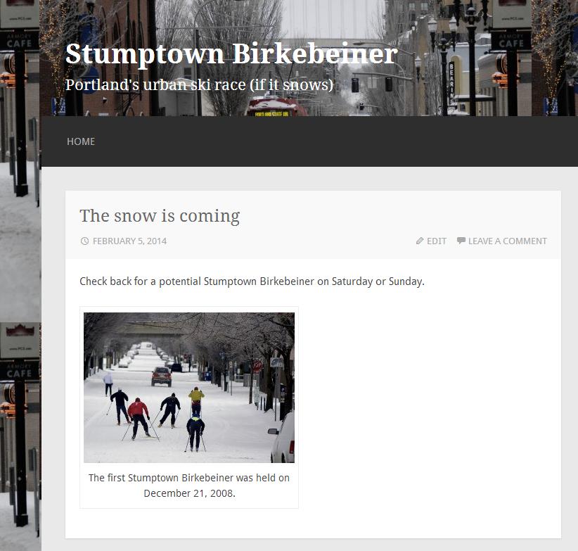 The Stumptown Birkebeiner is poised, Brigadoon-like, just waiting for snow.