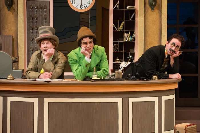 Harpo (Brent Hinkley), Chico (John Tufts) and Groucho (Mark Bedard) wait for some action at the Cocoanut Hotel.  Photo: Jenny Graham.