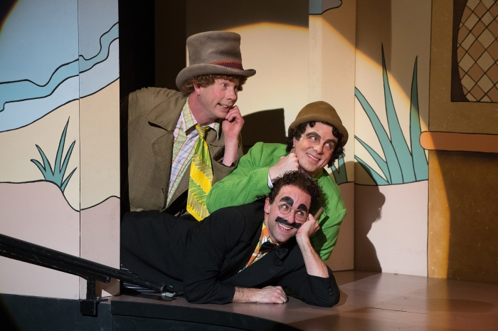 Resistance is futile.  But you can try.  Harpo (Brent Hinkley), Chico (John Tufts) and Groucho (Mark Bedard). Photo: Jenny Graham.