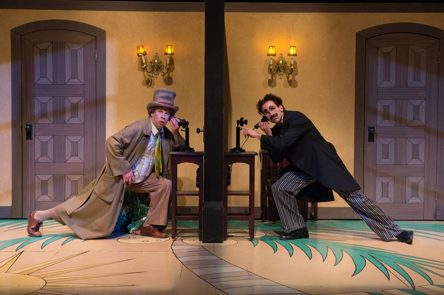 Harpo (Brent Hinkley) and Groucho (Mark Bedard) cause havoc in the hotel rooms. Photo: Jenny Graham.