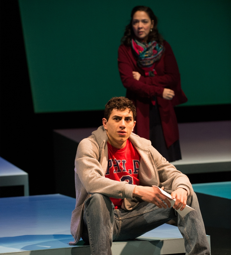 Elliot (Daniel José Molina) and his cousin Yazmin (Nancy Rodriguez) discuss the health of the ailing Ginny. Photo by Jenny Graham.