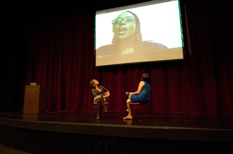 A Boom Arts event at Reed College in April 2014 with Ugandan playwright Deborah Asiimwe attending by Skype.