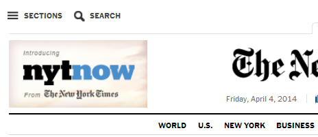 The icon of three horizontal bars in upper left of NYT opens a section drop down.