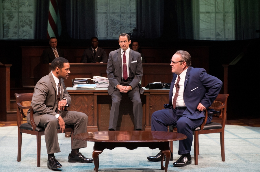 Dr. Martin Luther King, Jr. (Kenajuan Bentley), Vice President Hubert Humphrey (Peter Frechette) and President Johnson (Jack Willis) confer. (Ensemble, gallery, Richard Elmore, Wayne T. Carr, Jonathan Haugen) Photo by Jenny Graham.