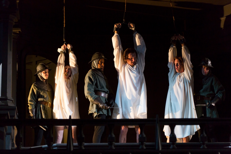 It's Shakespeare, so the body count has to be kept high.  Richard clears the way to the Crown through hangings, poison and beheadings. Ensemble. Photo by T. Charles Erickson.