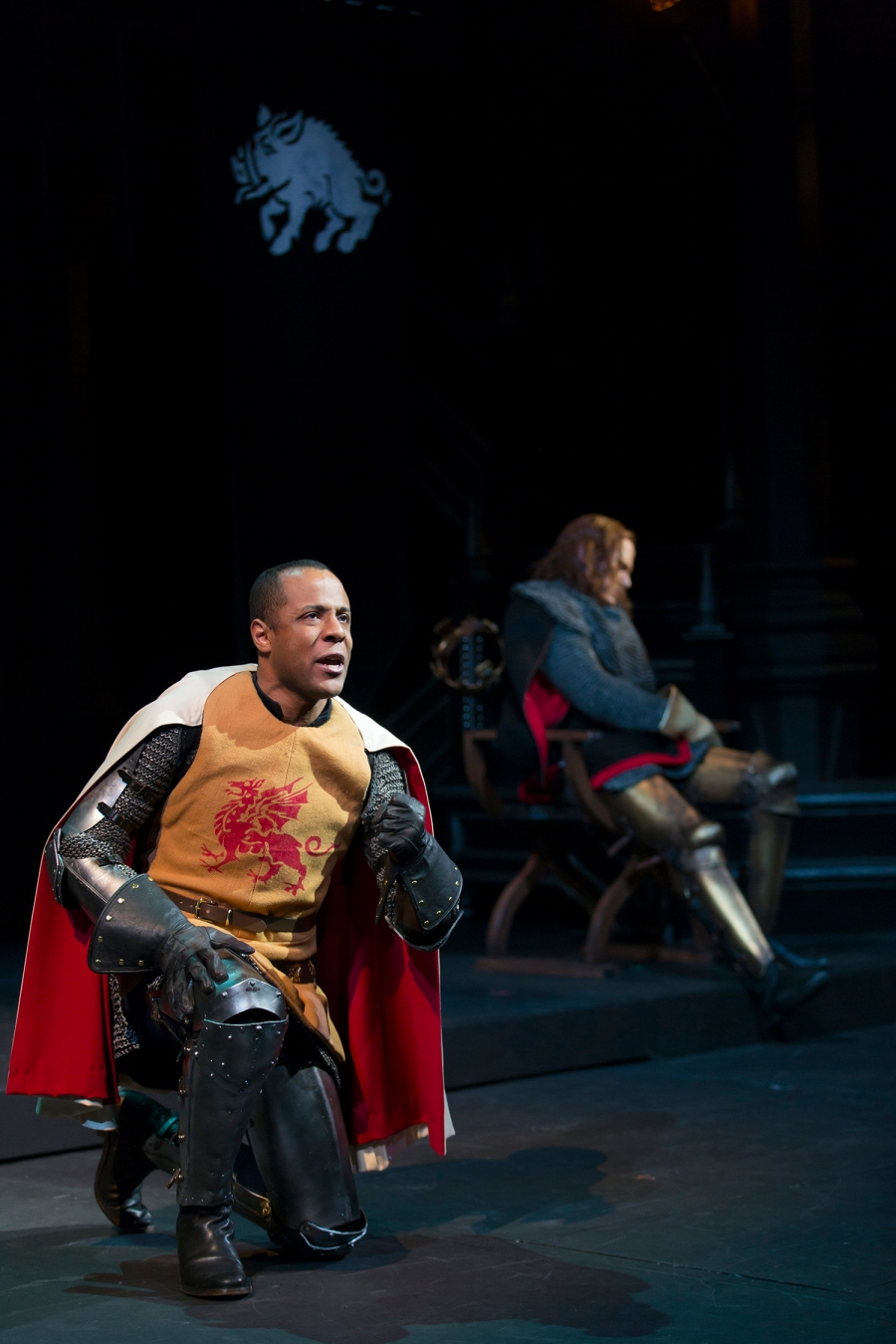 Henry, Earl of Richmond (R.J. Foster), prays for strength for the battle, as Richard (Dan Donohue) seeks his rest. Photo by T. Charles Erickson.