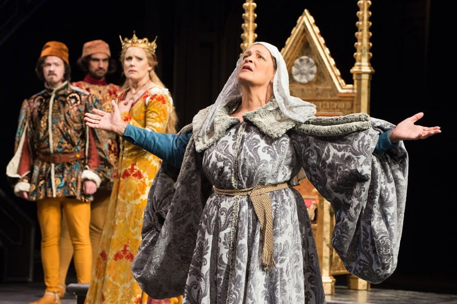 Queen Margaret (Franchelle Stewart Dorn) laments the wrongs done to the House of Lancaster as Queen Elizabeth (Robin Goodrin Nordli) and her sons (Tyler Joseph Kubat, Javier Muñoz) look on. Photo by Jenny Graham.