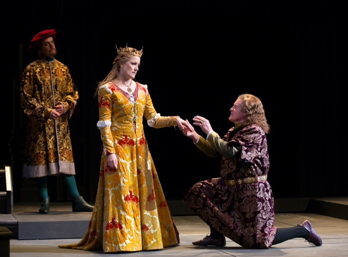 At the urging of the King, Buckingham (Anthony Heald) promises peace with Queen Elizabeth (Robin Goodrin Nordli), as Rivers (Al Espinosa) looks on. Photo by T. Charles Erickson.