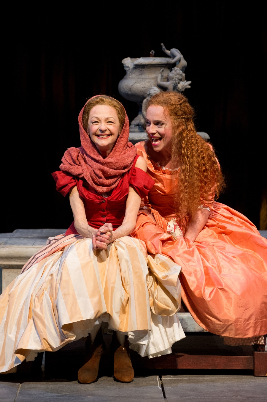 Julia (Erica Sullivan, right) and her waiting woman, Lucetta (Judith-Marie Bergan), share tales and confidences. Photo by Jenny Graham.