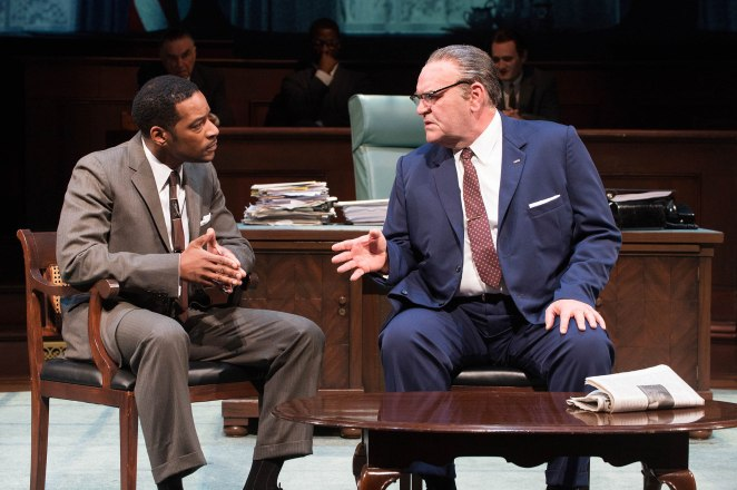 Dr. Martin Luther King, Jr. (Kenajuan Bentley) and President Johnson (Jack Willis) confer about the Voting Rights Act. (Ensemble, gallery, Richard Elmore, Wayne T. Carr, Jonathan Haugen) Photo by Jenny Graham.