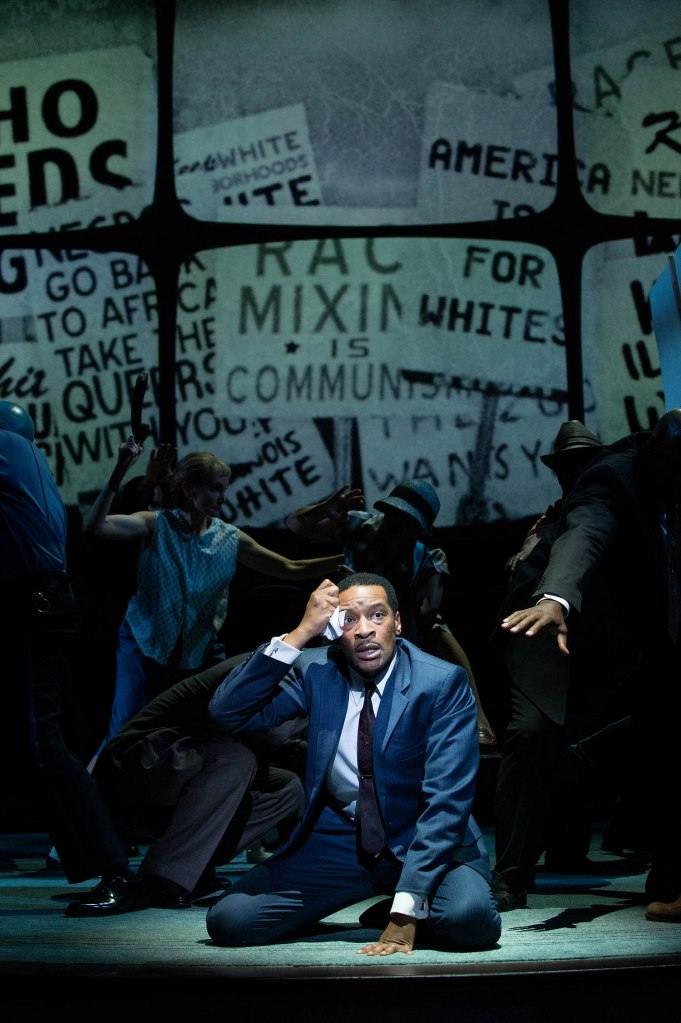 Dr. Martin Luther King, Jr. (Kenajuan Bentley) learns that the he grossly underestimated the extent of the hatred, racism and brutality in Chicago and the North. Photo by Jenny Graham.
