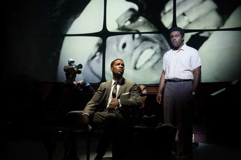 The tragic death of Jimmie Lee Jackson (Tobie Windham) haunts Dr. Martin Luther King, Jr. (Kenajuan Bentley). (Ensemble, Jonathan Haugen).  Photo by Jenny Graham.