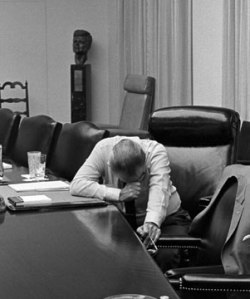 LBJ in July of 1968 hearing the bad news about Viet Nam.  We do not see this broken side of him in THE GREAT SOCIETY.