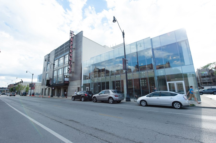 The main Steppenwolf theatre on the left with the new glass building at 1700 North Halsted on the right.  And way, way down the end of the block on the left is the current Lab.