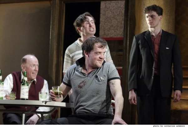There will be blood. Angry white (Irish) men in the 2012 Druid production of Tom Murphy's little known A WHISTLE IN THE DARK, which preceded THE HOMECOMING.