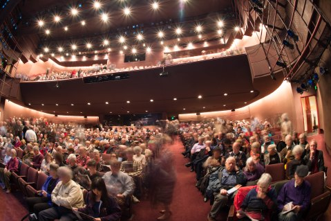 Sold out crowd at Seattle Rep awaiting the start of THE GREAT SOCIETY by Robert Schenkkan.