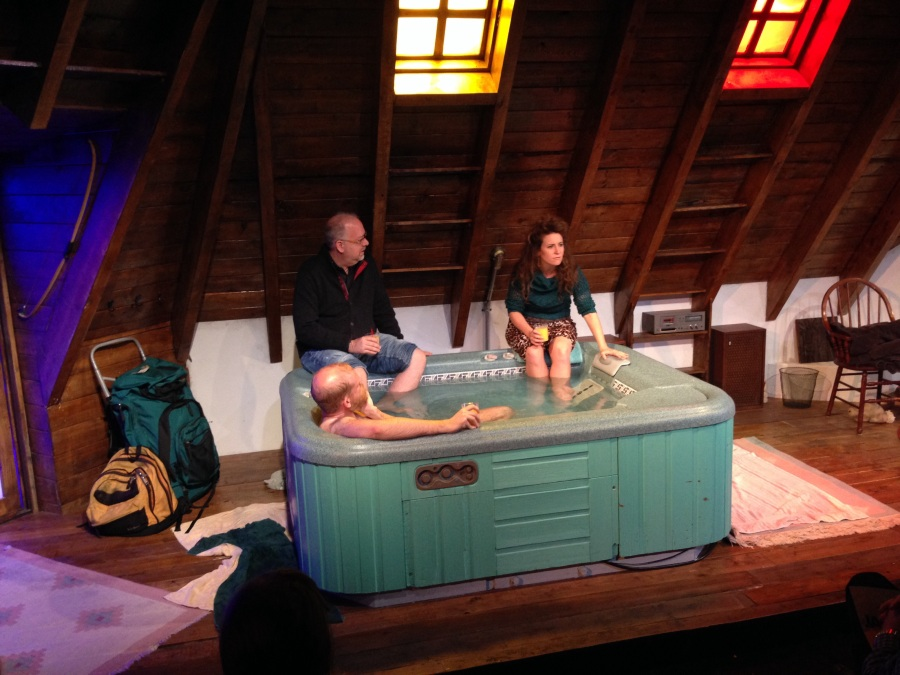 After the jacuzzi.  Playwright Doug Wright (center) leads a post show discussion with Paul Thureen and Hannah Bos at Ars Nova.