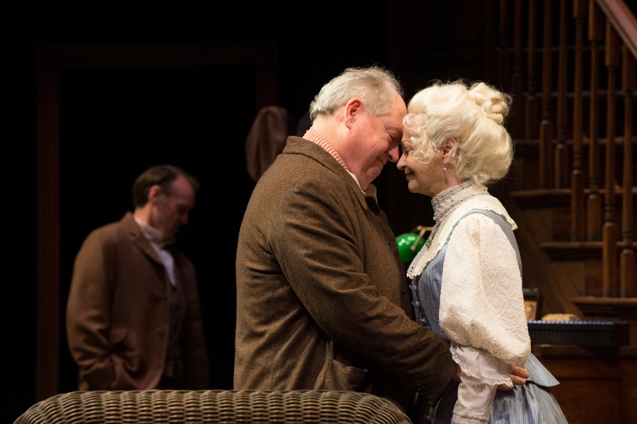 James and Mary Tyrone (Michael Winters, Judith-Marie Bergan) share a moment of tenderness, as son Jamie (Jonthan Haugen) hopes for the best. Photo: Jenny Graham.