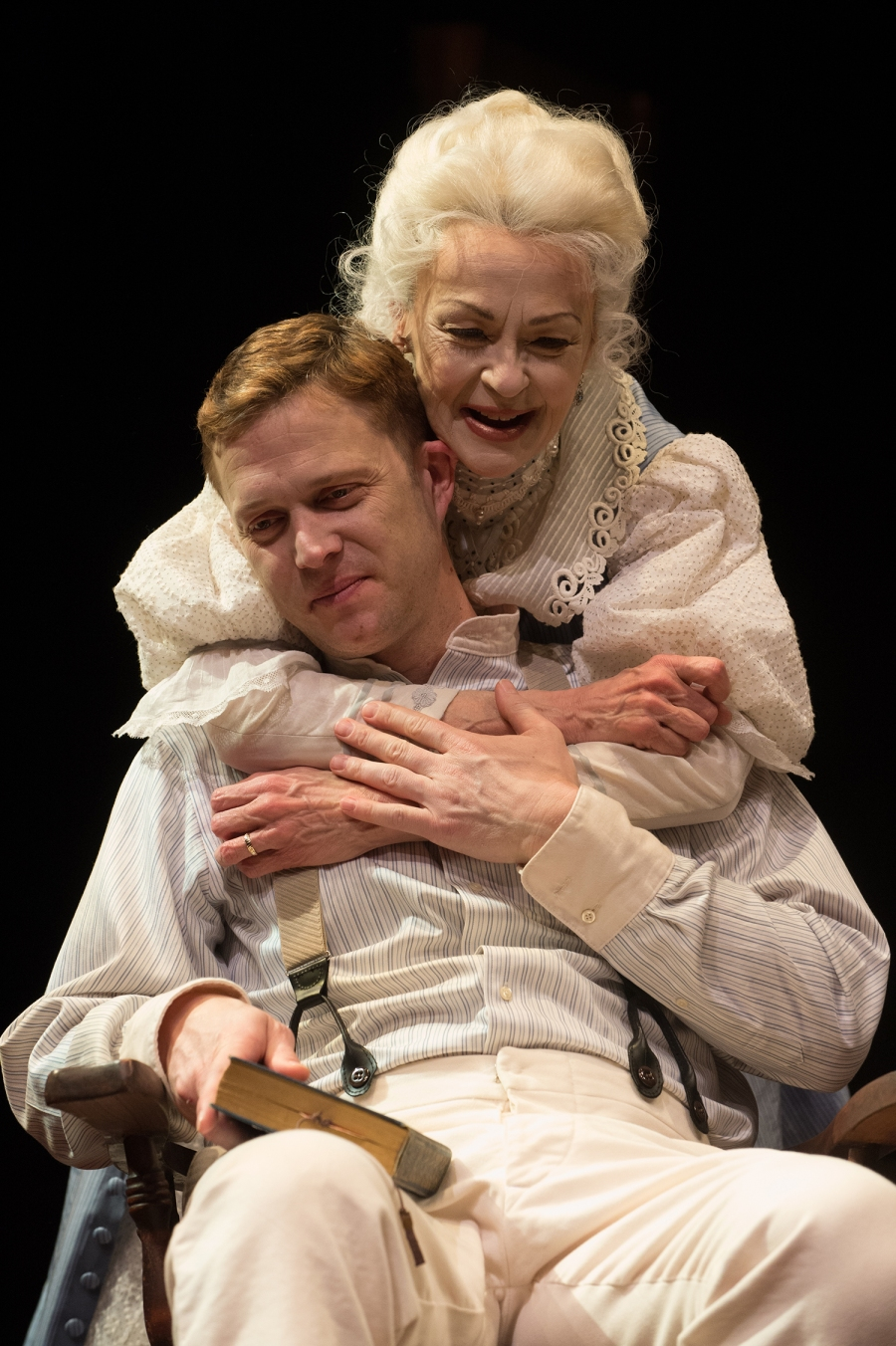 Mary Tyrone (Judith-Marie Bergan) embraces her son, Edmund (Danforth Comins). Photo: Jenny Graham.