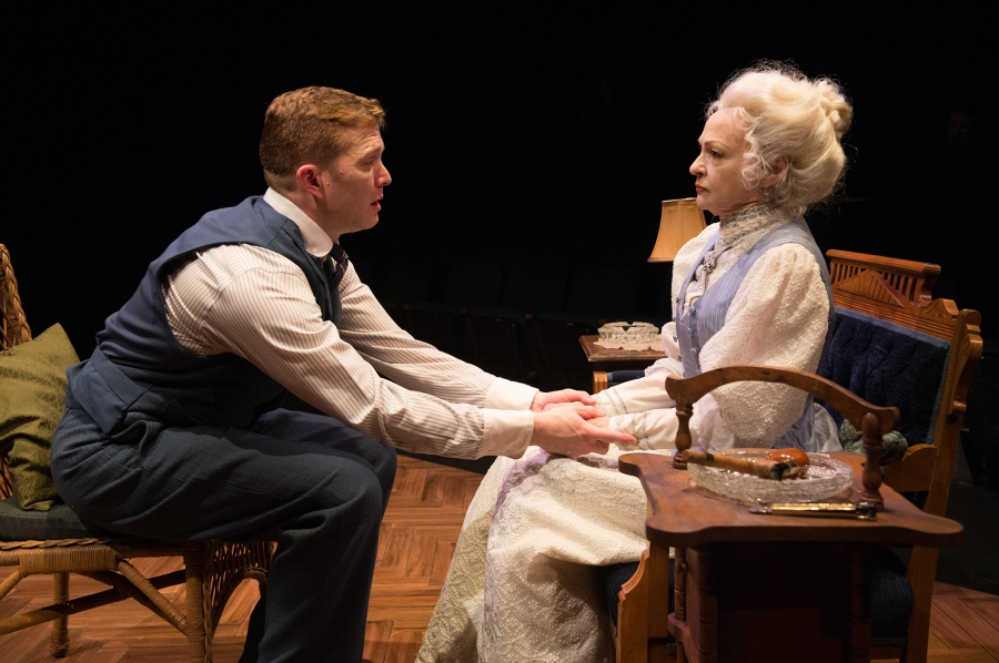 Jamie (Danforth Comins) pleads with his mother, Mary (Judith-Marie Bergan), to be strong. Photo: Jenny Graham.