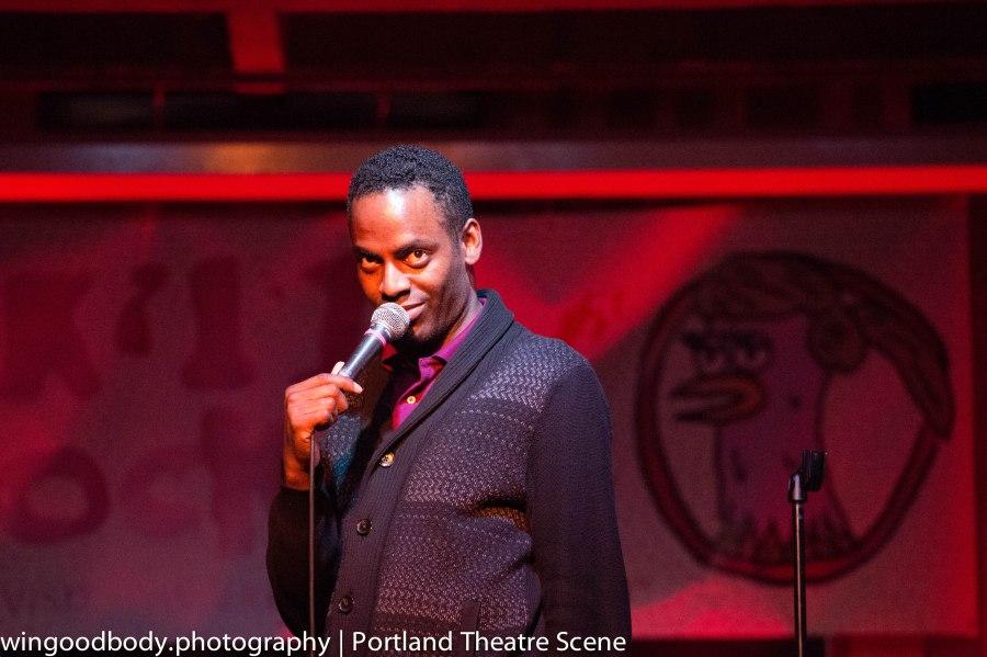 Baron Vaughan, aka @barvonblaq, MC's New Negroes opening night at Doug Fir in the 2015 Bridgetown Comedy Festival.